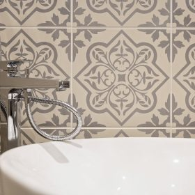 Pentillie Light Grey On Chalk Ceramic Tile