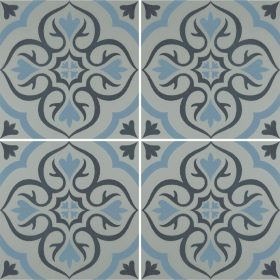 Knightshayes Dark And Light Blue On Grey Ceramic Tile
