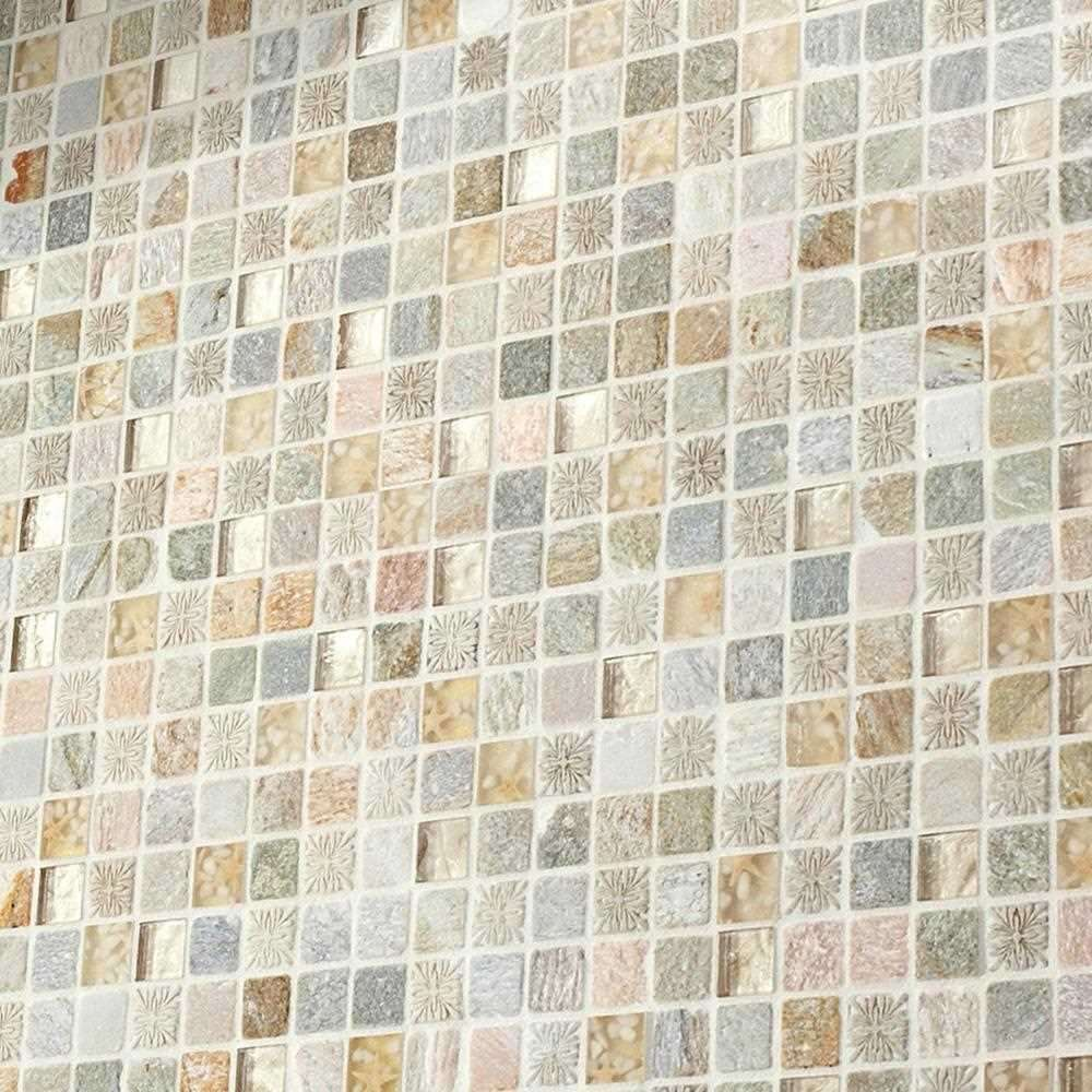 Natural Travertine Mosaic Tile L 300mm W 300mm: Foras Stone Mosaic Tiles